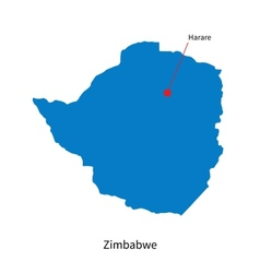 Detailed map of Zimbabwe and capital city Harare vector image