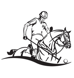 equestrian polo emblem vector image vector image