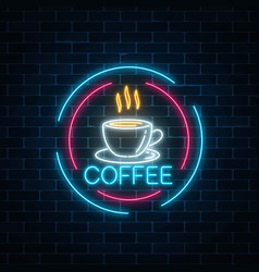 glowing neon coffee cup icon in circle frames vector image