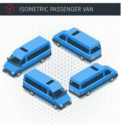isometric minibus car vector image vector image