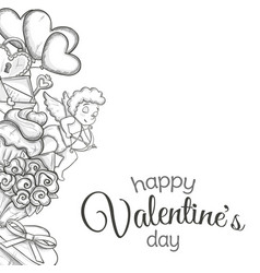 side vertical border with sketch valentines day vector image
