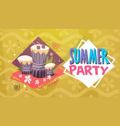 Summer party vacation sea travel retro banner vector