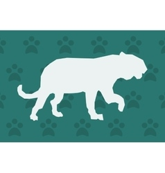 big cat or feline silhouette icon over pattern vector image
