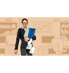 cartoon woman holding folders with documents vector image vector image
