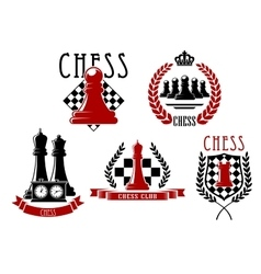 Chess game icons with boards clock and pieces vector image