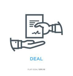 deal line flat icon vector image vector image