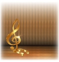 Golden treble clef on wooden background vector image vector image
