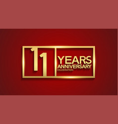 11 years anniversary logotype with golden color vector