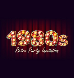 1980s retro party invitation 1980 vintage vector