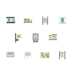 Advertising spaces flat color icons vector image