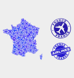 Aero collage france map and grunge stamps vector