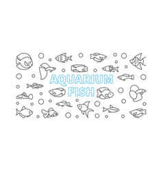 aquarium fish horizontal banner in thin vector image