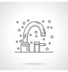 Bath faucet flat line design icon vector image