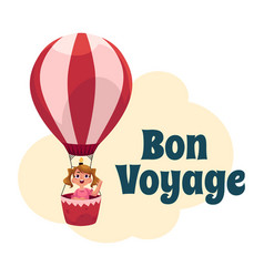 Bon voyage postcard banner poster with girl in vector