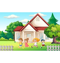 Boys and girl running in the backyard vector