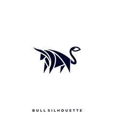bull silhouette design template vector image