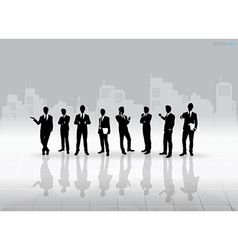 Businessman Silhouettes with building background vector