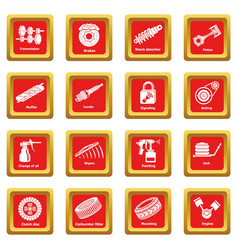 car repair parts icons set red square vector image