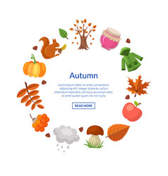 Cartoon autumn elements and leaves vector