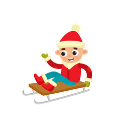 cartoon teenaged boy on sledge cartoon vector image