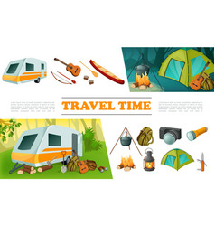cartoon travel camping elements set vector image