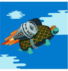 cartoon turtle with rocket turbine vector image