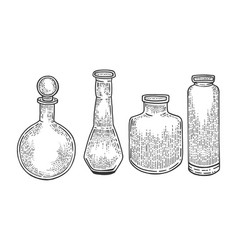 chemical laboratory flasks sketch engraving vector image