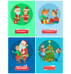 christmas holidays santa claus and snow maiden vector image