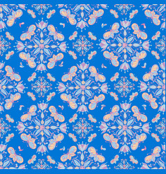 Colorful butterfly mandala pattern on a blue tile vector