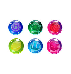 colorful glossy balls set shiny spheres vector image