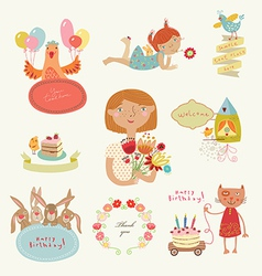 Congratulatory set with characters vector image