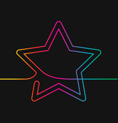 continuous line drawing star rainbow colors vector image
