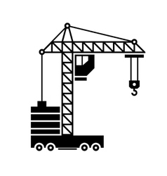 Crane Icon Silhouette on White Background vector image