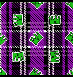 Cute punk crown on plaid background pattern vector