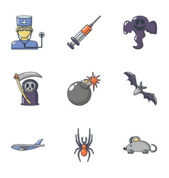 Deadly business icons set cartoon style vector