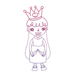 degraded outline girl queen with dress and crown vector image