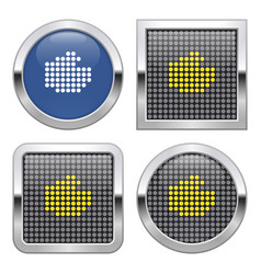 dotted icon fist on glossy button in four vector image