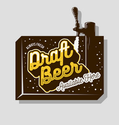 draft beer tap sign design for promotion vector image