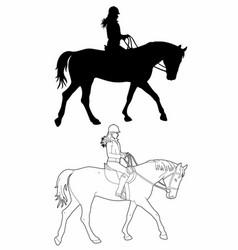 Drawing a woman on horseback vector