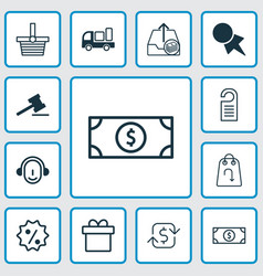 Ecommerce icons set collection of price pannier vector