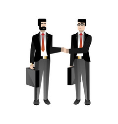 European businessmen in business suits handshaking vector