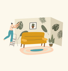 female character stand on ladder in living room vector image