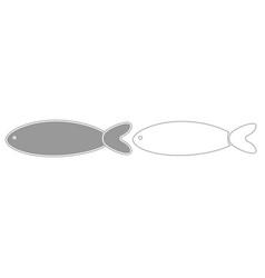 fish grey set icon vector image