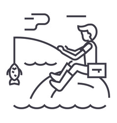 fishing man with rod line icon sign vector image