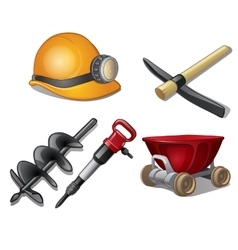 Five tools of miner on a white background vector