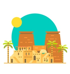 Flat design of Thebes with village in egypt vector image