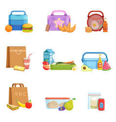 Flat set of school lunch boxes and bags vector