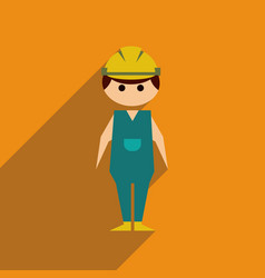 Flat web icon with long shadow man worker vector