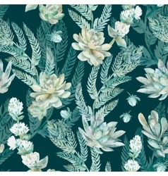 Floral seamless pattern succulents ferns vector