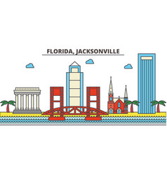 florida jacksonvillecity skyline architecture vector image